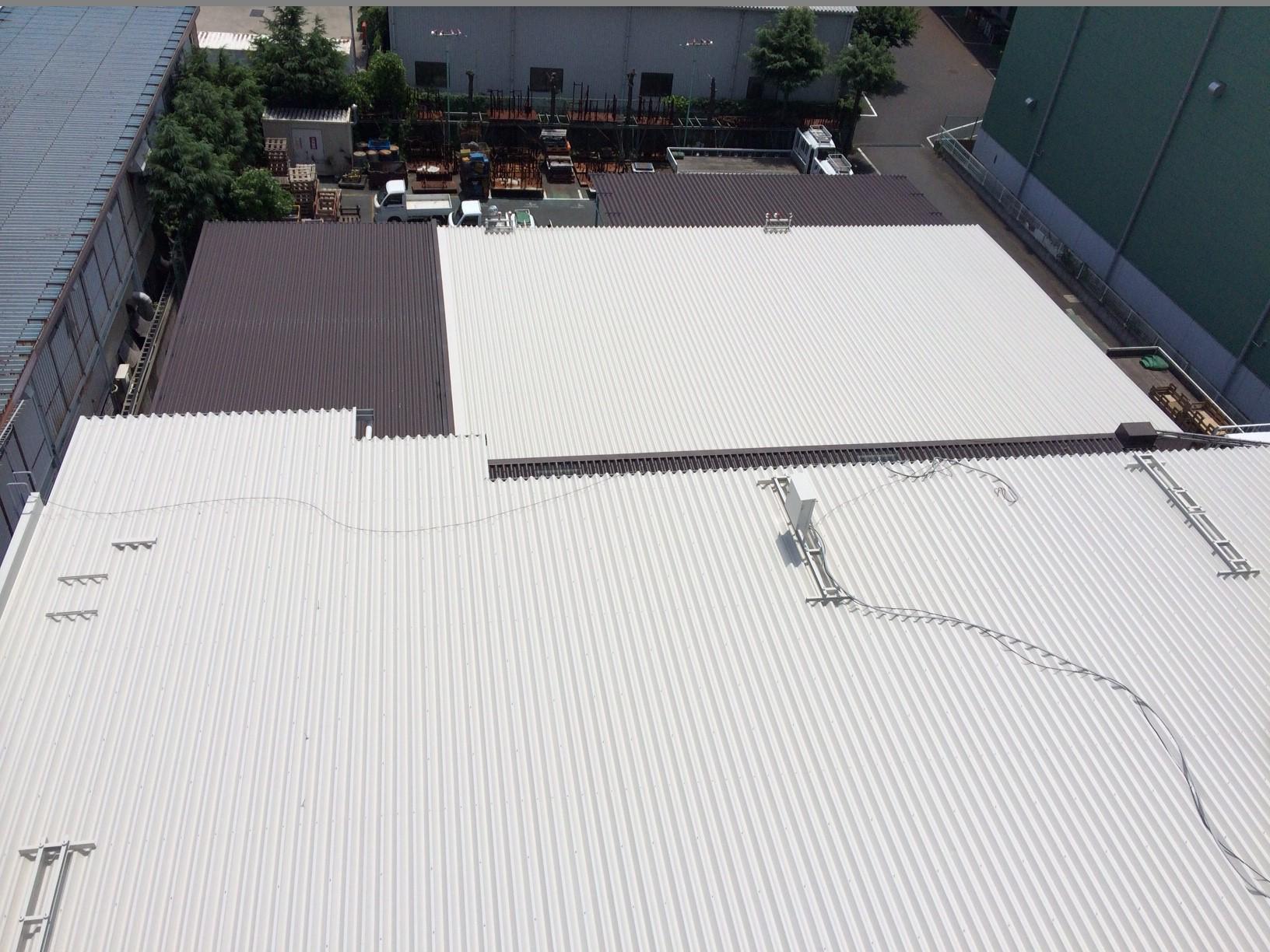 工場屋根折板 遮熱塗装工事