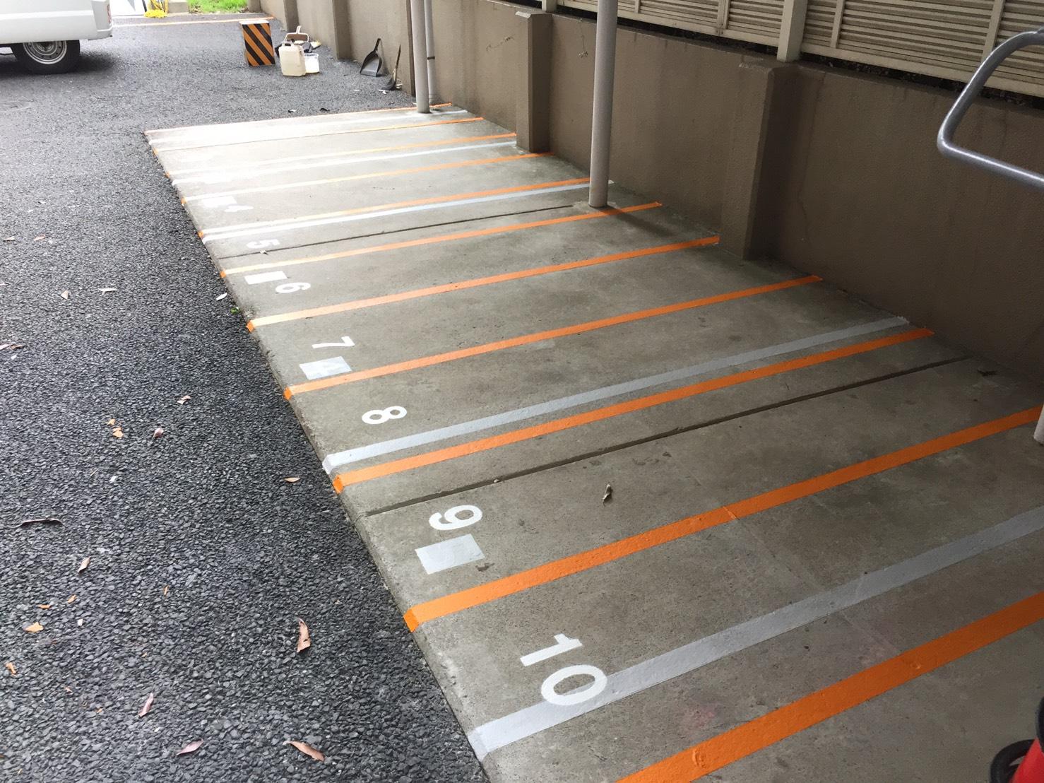 マンション駐輪場 区分ライン塗装工事